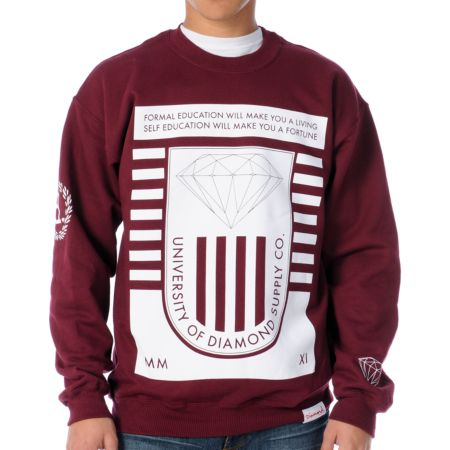 Diamond Supply University 2 Maroon Crew Neck Sweatshirt