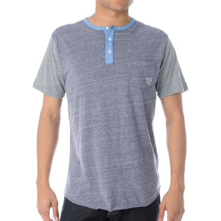 Matix Monostack Heather Charcoal Henley Tee Shirt