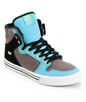 Supra Vaider Turquoise, Grey & Black Shoe