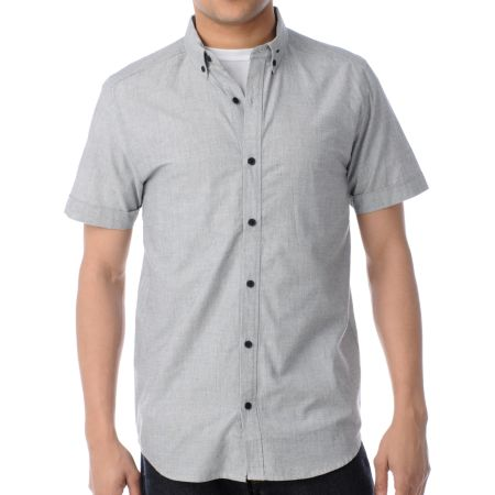 Comune Alton Grey Short Sleeve Button Up Shirt