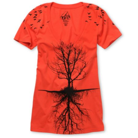 Lira Girls Tree Bright Red V-Neck Tee Shirt