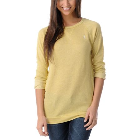 Obey Girls Echo Mountain Mustard Yellow Crew Neck Sweatshirt