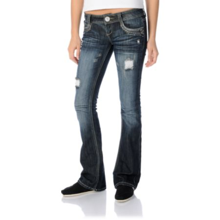 Almost Famous Kelly Dark Blue Bootcut Jeans