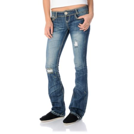 808353a775b Almost Famous Allyson Dark Blue Bootcut Jeans At Zumiez Pdp
