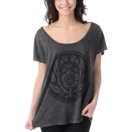Obey Girls Flower Power Brown Mineral Wash Tee Shirt