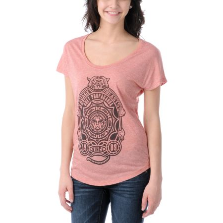 Obey Girls Savage Beasts Red Mock Twist Dolman Top