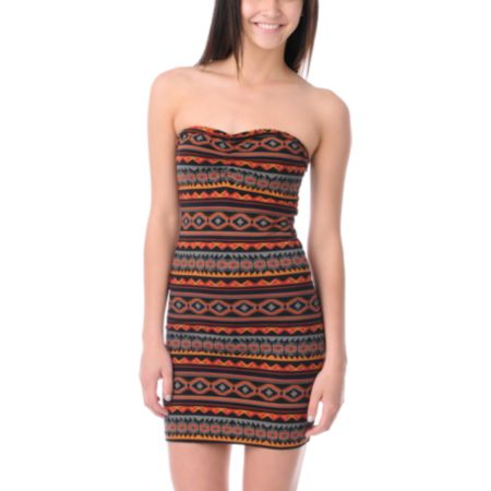 Obey Girls Southwest Summer Body Con Strapless Dress