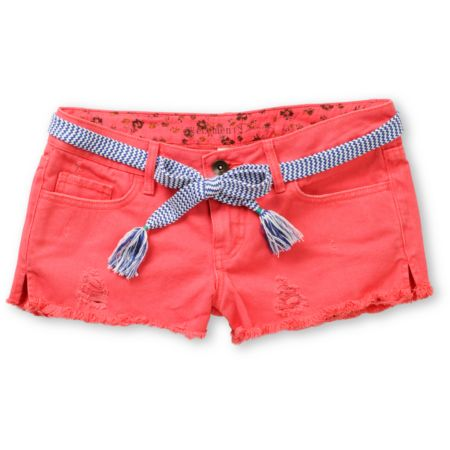 Element Girls Taylor Coral Denim Cut Off Shorts
