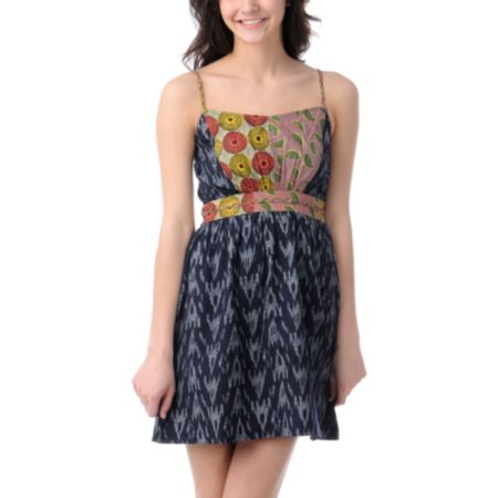 Element Fiesta Navy Print Knit Dress