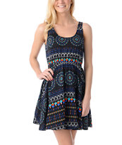 Element Sharon Black Crochet Back Tank Dress