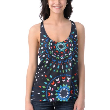 Element Girls Morgan Black Mesh Back Tank Top