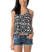 Element Girls Ivy Black Floral Crop Tank Top