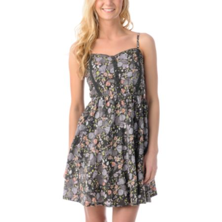 Billabong Perla Charcoal & Pink Printed Woven Dress