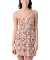 Billabong Charity Bandeau Peach Print Tube Dress