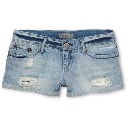 YMI Girls Carrie Destructed Blue Cut Off Jean Shorts