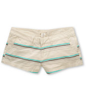 Billabong Girls Keep On Khaki Stripe Canvas 2.5 Shorts