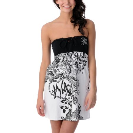 Metal Mulisha Transfix White & Black Tube Dress