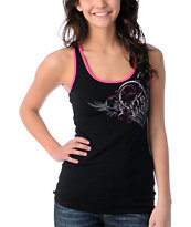 Metal Mulisha Girls Boo Black Lace-Back Tank Top