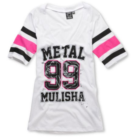 Metal Mulisha Girls Lucky White V-Neck Football Tee Shirt