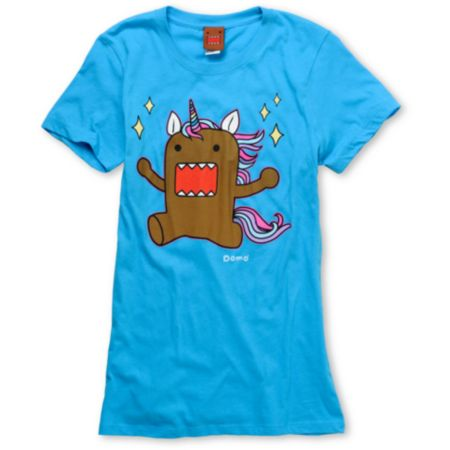 Domo Unicorn Girls Aqua Tee Shirt