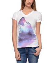 Empyre Girls Wolfy White V-Neck Tee Shirt