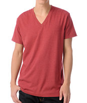 Zine Deuce Heather Red V-Neck Tee Shirt