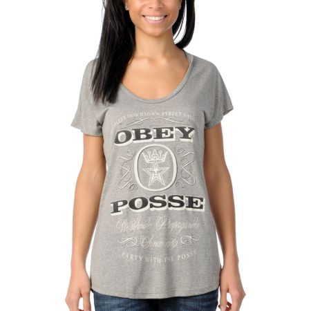 Obey Girls Porto Grey Mock Twist Dolman Top
