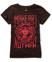 Obey Girls Make Art Not War Dark Red Heather Tee Shirt