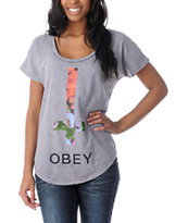 Obey Salem Spring Purple Mineral Wash Dolman Tee Shirt
