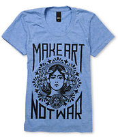 Obey Girls Make Art Not War Light Heather Blue Tee Shirt