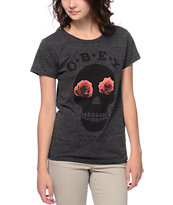 Obey Girls Sinners Heather Charcoal Tee Shirt