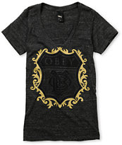 Obey Girls Low Life Charcoal Heather V-Neck Tee Shirt