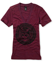 Obey Girls No Sleep Heather Maroon Tri Blend V-Neck Tee Shirt