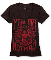 Obey Girls Make Art Not War Dark Red Heather V-Neck Tee Shirt