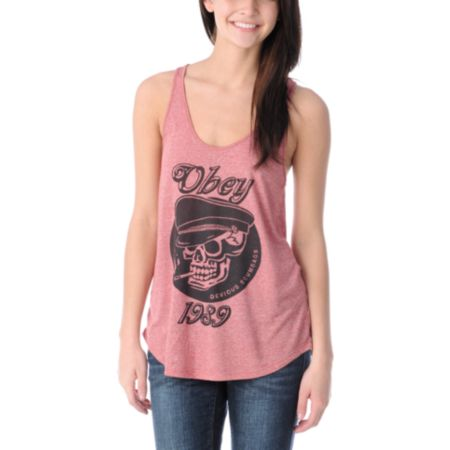 Obey Girls Devious Scumbag Heather Red Mock Twist Tank Top