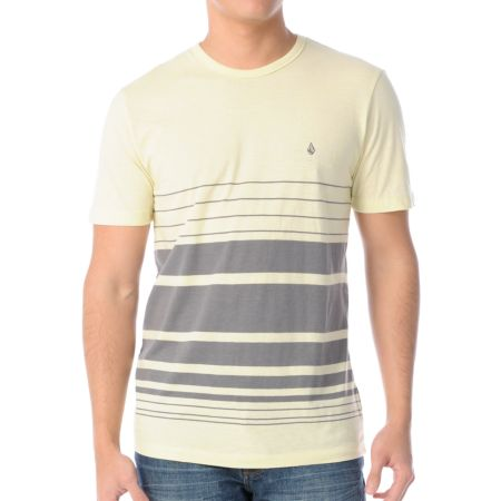 Volcom Rupture Yellow & Grey Knit Tee Shirt