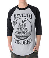 Obey Devil to the Deep Black & Grey Baseball Tee Shirt