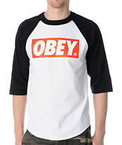 Obey Bar Logo White & Black Baseball Tee Shirt