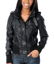Thread and Supply Girls Black Faux Leather Knit Hood Jacket