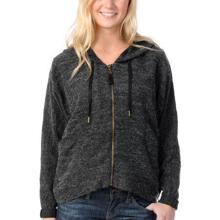 Billabong Girls Wicked Ways Black Zip Up Hoodie