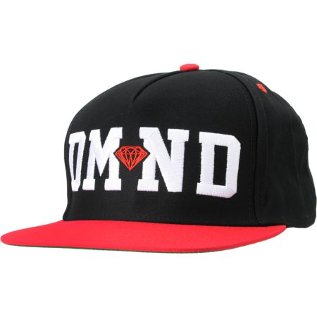 Diamond Supply DMND Black & Red Snapback Hat