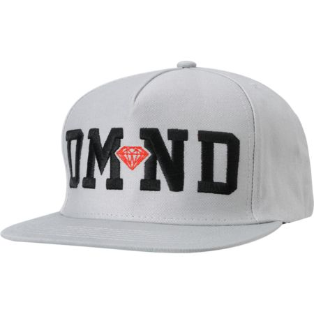 Diamond Supply DMND Grey & Red Snapback Hat