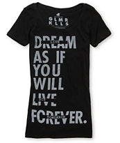 Glamour Kills Girls Live Forever Tomorrow Black Tee Shirt