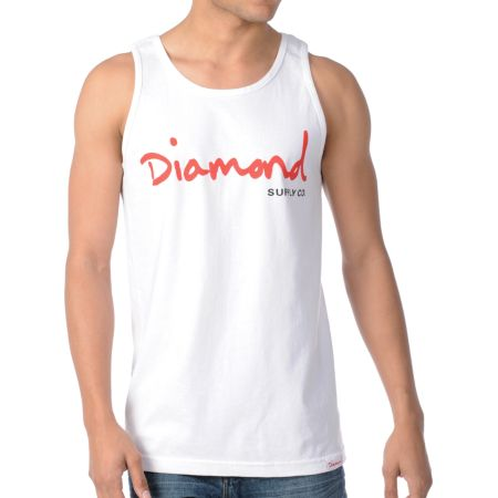Diamond Supply OG Script White & Red Tank Top