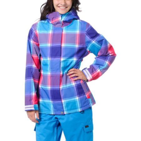 Empyre Girls Palisade 10K Pink & Purple Plaid Snow Jacket 2013