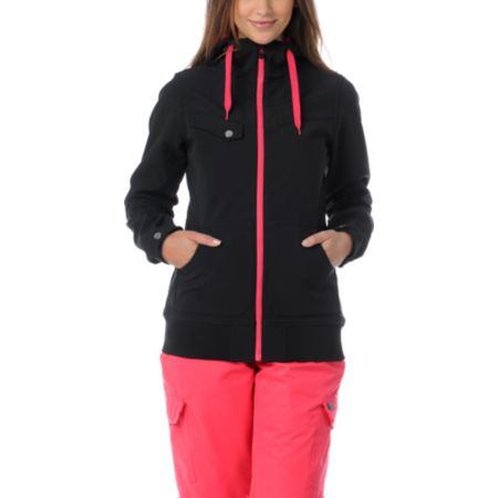 Empyre Girls Skyline Black & Pink 10K Softshell Snow Jacket