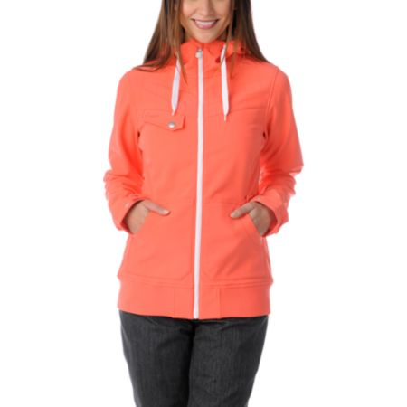 Empyre Girls Skyline Hot Coral 10K Softshell Snow Jacket