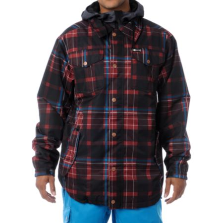 Aperture Elevation Red Plaid 10k Snowboard Jacket 2013