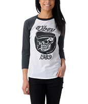 Obey Girls Devious Scumbag White Baseball Tee Shirt
