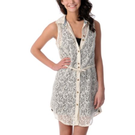 Volcom Not So Classic Cream Lace Shirt Dress